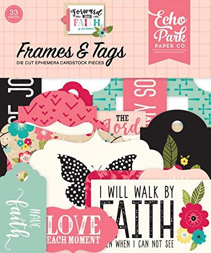 Echo Park Paper Company FWF183025 Forward with Faith Frames & Tags Ephemera, Pink, Green, Teal, Black, tan ()