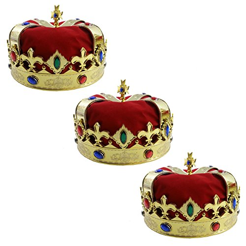 3 Kings Costume (Royal Jeweled King's Crown - Costume Accessory (3 Pack))