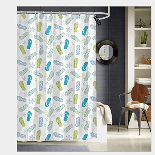 (Pillow Bags Flip Flops Beach Swimming Summer Season Inspiration Starfish Shower Curtain Fabric Bathroom Decor Set with Hooks 66 x 72 inch)