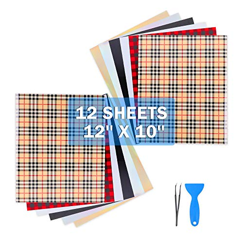 Heat Transfer Vinyl for T-Shirt Christmas Buffalo Plaid Iron On Vinyl Sheet PU HTV Bundle with Tweezers Assorted Colors Works with Cricut and Other Cutters -12''X10''-12PCS