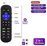 2-in-1 Universal Remote Control Compatible with Roku Player with 9 More Learning Keys to Control TV, Soundbar, Receiver All in One Fit for Roku 1 2 3 4 Premier+ Express Ultra (NOT for Roku Stick)