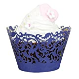 Muxika 50Pcs Hollow Lace Cup Muffin Cake Paper Case Wraps Cupcake Wrapper for Wedding Birthday Festival Party Decoration DIY Cupcake (Blue)