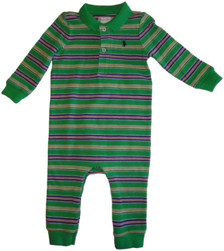 Infant's Ralph Lauren Polo Long Sleeve Baby Romper Green with Multicolor Stripes Size 9 Months