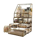 Antique Clear Glass&Brass Metal Jewelry and Cosmetic Storage Makeup Organizer Set 6 Drawer with 1 Large Spacious Trapezoid Display Individually Use