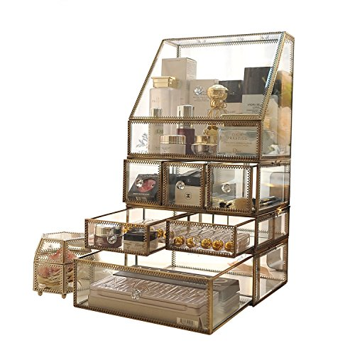 Antique Clear Glass&Brass Metal Jewelry and Cosmetic Storage Makeup Organizer Set 6 Drawer with 1 Large Spacious Trapezoid Display Individually Use by Hersoo