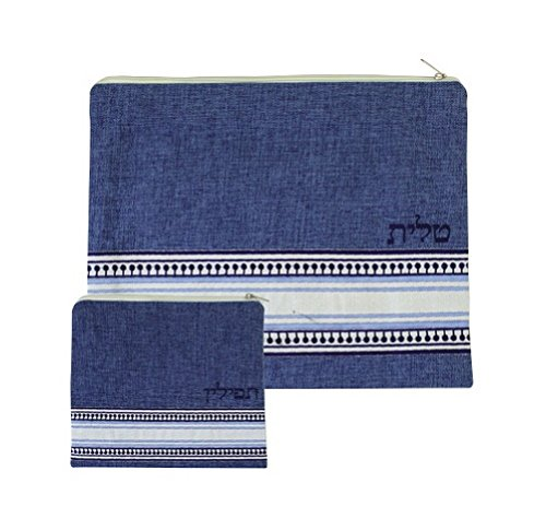 Embroidered Linen Tallit and Tefilin Set 2 Zippered Bags (Blue)