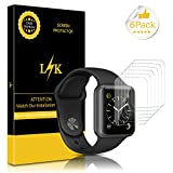 [6 Pack] Apple Watch Screen Protector (38mm Series 3/2/1 Compatible), LK Liquid Skin [Full Coverage] [Anti-Bubble] HD Clear 9H Hardness With Lifetime Replacement Warranty