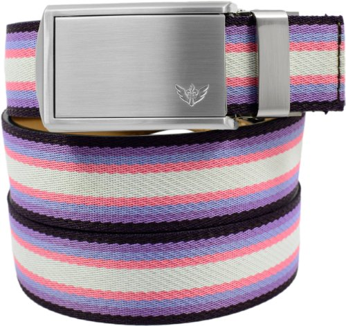 SlideBelts Women's Canvas Belts - Purple/Pink/White with Winged Silver Buckle (Trim-to-fit: Up to 48