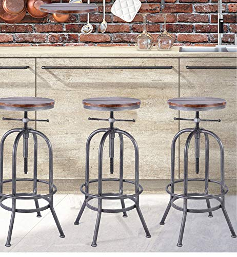 LOKKHAN Industrial Bar Stool,Vintage Adjustable Swivel Metal Wood Stool,Rustic Farmhouse Stool,Cast Iron Stool,Counter Height to Extra Tall Pub Height Kitchen Coffee Chair,28-34 Inch (Silver(2pcs))
