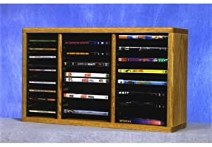 Wood Shed Solid Oak desktop or shelf for CD's and DVD's (Individual Locking Slots) Clear