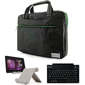 Nine-O Premium Nylon Carrying Shoulder Bag Case For Visual Land Prestige Tablets & Connect 9 Tab + Bluetooth Keyboard + Foldable Stand