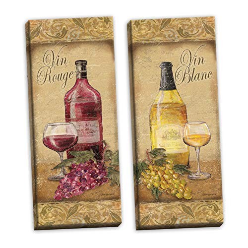 (Gango Home Décor 2 Vintage Tuscan White and Red Wine Bottle and Grape Set Two 8x20in Stretched Canvases)