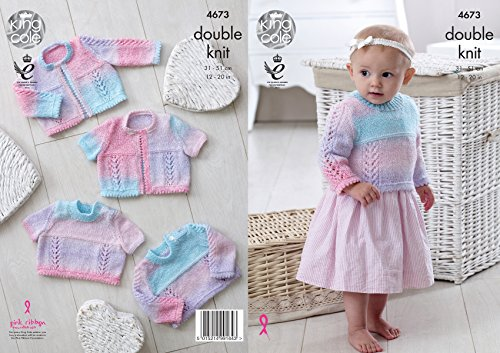 Long Cardigan Knitting Pattern - King Cole Baby DK Double Knitting Pattern Lace Long or Short Sleeved Sweaters & Cardigans (4673) by King Cole