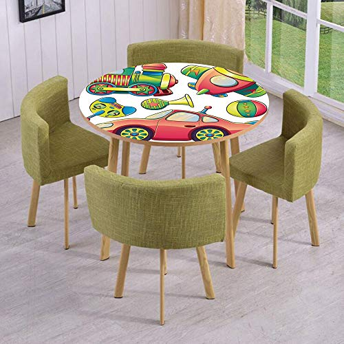iPrint Round Table/Wall/Floor Decal Strikers,Removable,Funny Transportation Toys with Train Car Airplane Horn Balls Auto Tire Cartoon Design,for Living Room,Kitchens,Office Decoration ()