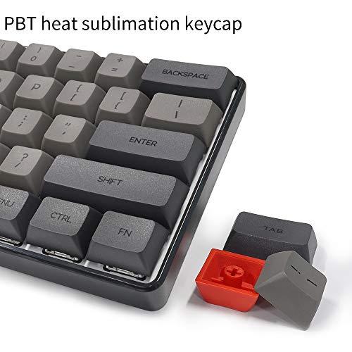 YUNZII SK61 Black Wired 60% Keys NKRO Gateron Optical Switch RGB Backlight Mechanical Gaming Keyboard (Gateron Red Switch, Black 61 Keys)