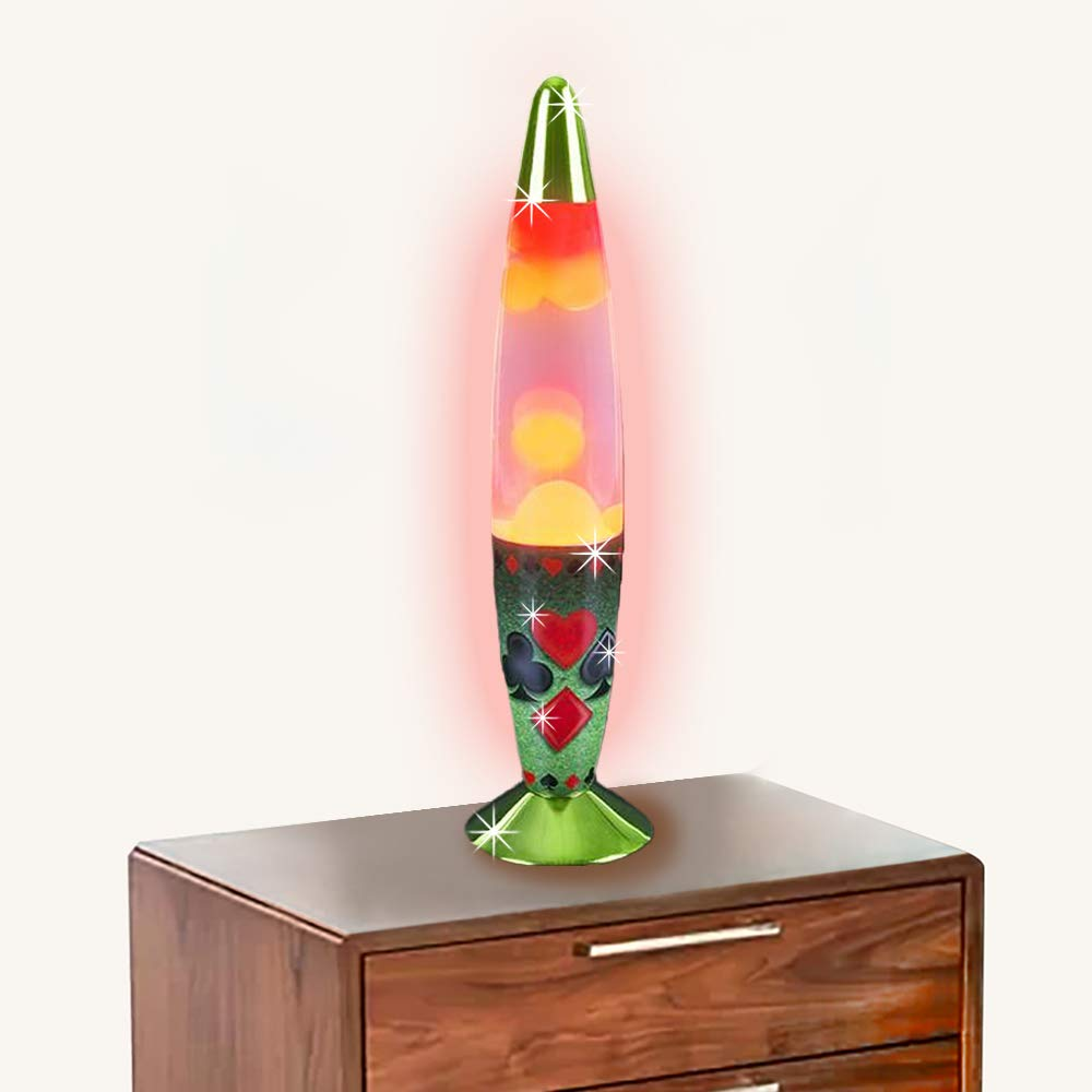 ArtCreativity Beautiful Lava Motion Lamp with Playing Card Design - 13.5 Inches Tall - Wax Motion Lamp - Includes Printed Box and Attached Power Cord - Great Large Prize and Expensive Gift for Kids