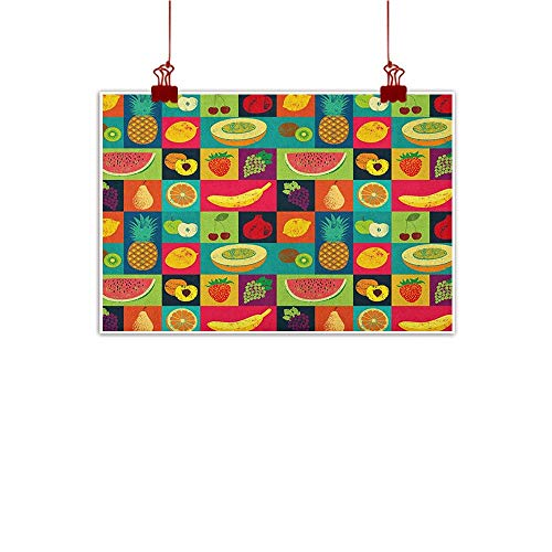 Wall Art Print Home Decor Retro,Pop Art Grunge Style Fruits Collection Colorful Vintage Set Organic Food Pattern, Multicolor 24