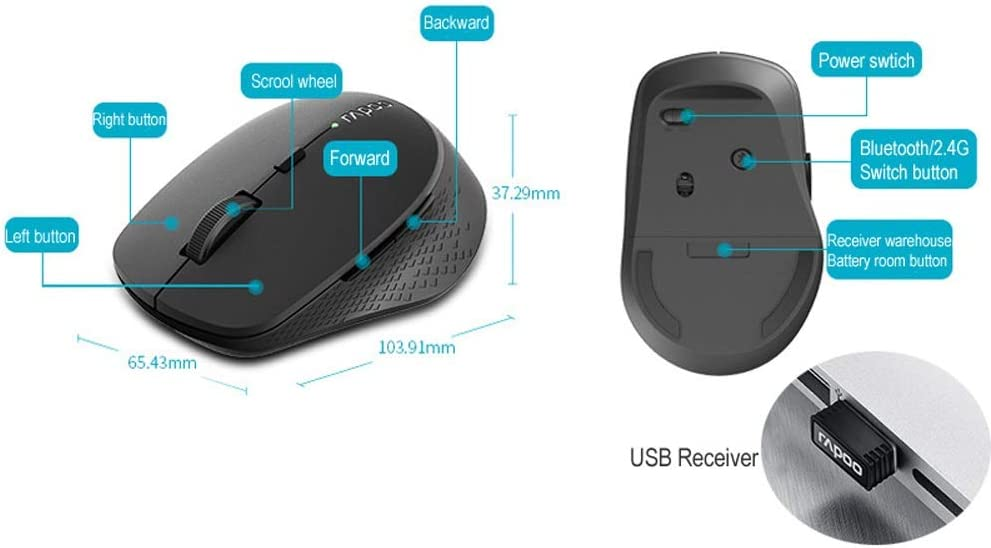 L-DPP 3-Button USB Optical Mouse New Multi-Mode Silent Wireless Mouse with 1600DPI Bluetooth 3.0//4.0 RF 2.4GHz for Three Devices Connection for Laptop PC Desktop,for Windows Mac