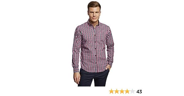 oodji Ultra Hombre Camisa Entallada a Cuadros: Amazon.es: Ropa