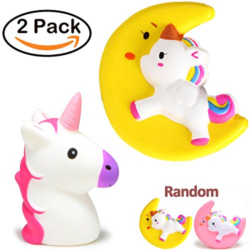 Price comparison product image Squishies Slow Rising 2 Pack Kawaii Unicorn Squishies Jumbo for Easter Basket Stuffers Soft Squishy Toys Moon Unicorn Head Stress Relief Easter for Kids Boys Girls by Qiwoo