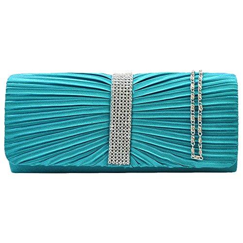 Satin Evening Bag Wedding Teal Envelope Teal blue Cckuu Rhinestones Clutch Pleated blue Ladies Purse qxESyR1