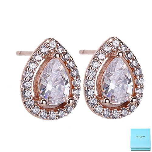 (Women Cubic Zirconia Stud Earrings - 14k Rose Gold Plated Vintage Pear Shaped CZ Crystal Rhinestone Small Halo Stud Earrings for Wedding Party Prom Girls by)