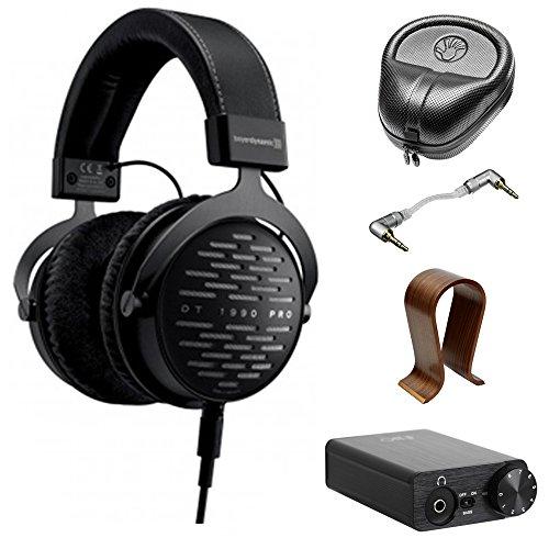 BeyerDynamic DT 1990 PRO 250 Ohm Open Studio Headphones (710490) w/Amplifier Bundle Includes, FiiO E10K USB DAC & Headphone Amplifier, Wood Headphone Stand, Headphone Case and Stereo Audio Cable ()