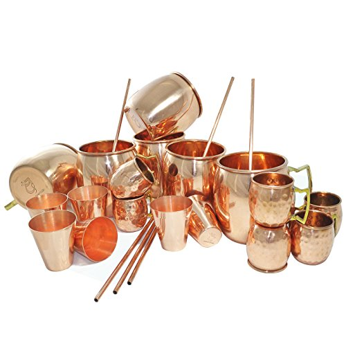 DakshCraft ® Copper Cocktail Moscow Mule Mug (Capacity 17 oz) with FREE Beer Copper Shot Mug (Capacity - 2 oz pr mug), Wine Copper Shot Glass (Capacity - 2 oz pr glass) & Copper Straw, Set of 6