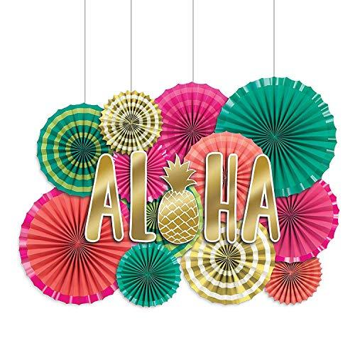 Amscan 290092 Aloha Deluxe Paper Fan Decorating Kit Multi Sizes Multicolor