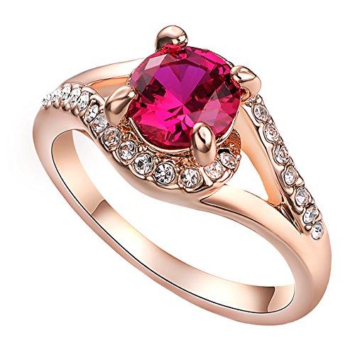 VOGEM Princess Cut CZ Ring for Women Ladies Austrian Pink Crystal 18K Rose Gold Plated Cocktail Rings