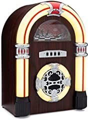 Listen to your music in retro style with the ClearClick Jukebox Bluetooth Speaker with Aux-In! This retro style speaker has a beautiful, handmade, real wood exterior. The working, static yellow lights give it an authentic retro look, but the ...