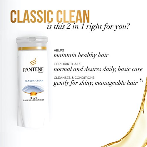 Pantene Pro-V Classic Clean 2in1 Shampoo + Conditioner 25.4 Fl Oz (Pack of 2)