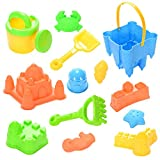13 Pcs Beach Toys Set Sand Castle Bucket & Tools & Molds In Mesh With Zippered Bag Summer Play Set for Babies Kids