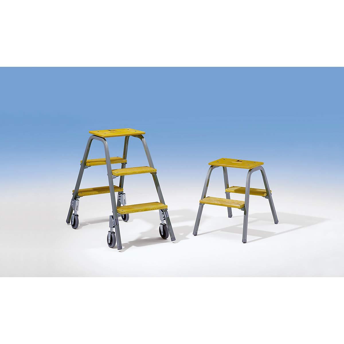 3 Stufen 2,60 m G/ünzburger Tritt mit Brems-Bockrollen Arbeitsh/öhe bis ca