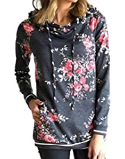 BETTE BOUTIK Womens Drawstring Hoodies Sweatshirts with Pockets Floral Print Long Sleeve Pullover Tunic Tops with Pockets