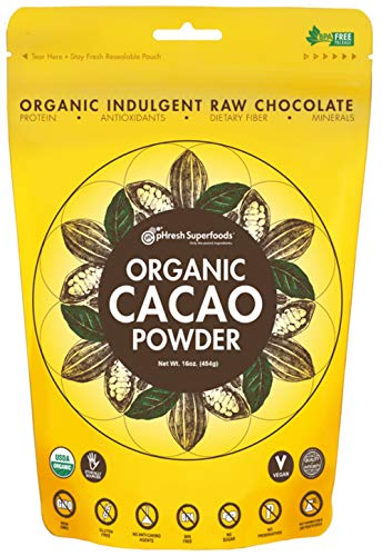 pHresh Superfoods Premium Cacao Powder - Great Taste Unsweetened Healthy Rich Dark Chocolate 453.59g (16oz) - Certified 100% Organic Vegan Keto Gluten Free Non-GMO - Amino Acids Protein Fiber