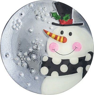 (Snowman Round Glass Christmas)