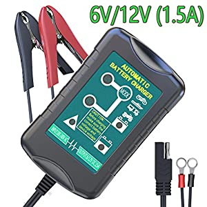 LST 6V/12V 1.5Amp Car Battery Charger Maintainer Auto Trickle Charging for Automotive Vehicle Motorcycle Lawn Mower Marine RV SLA ATV AGM Gel Cell Lead Acid Batteries