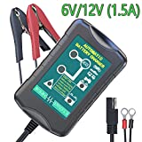 LST 6V/12V 1.5Amp Battery Charger Maintainer Smart Auto Trickle Float Deep Cycle Charging for Automotive Vehicle Motorcycle Lawn Mower Marine RV SLA ATV AGM Gel Cell Lead Acid Batteries