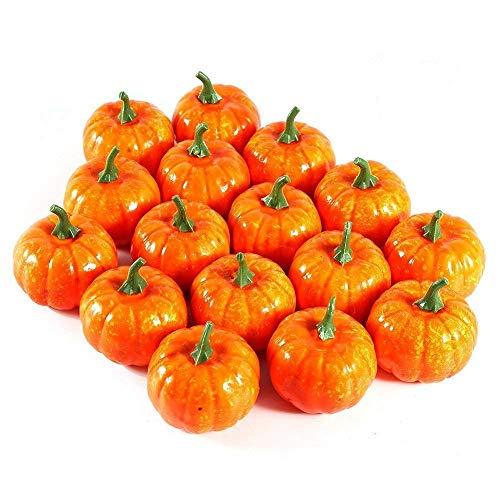 FUNSECO 16 Pcs Pumpkin Fall Decorations, Halloween Pumpkin Artificial Harvest Foam Pumpkins Kits for Garden Home Decor Artificial Vegetables ()