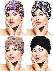 4 Pieces Turban Flower Head Wrap Beanie Scarf Cap Hair Loss Hat for Men and Women