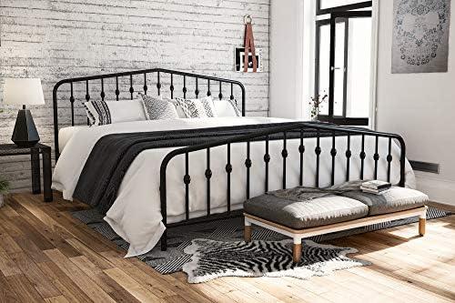 Novogratz Bushwick Metal Bed with Headboard and Footboard | Modern Design | King Size – Black 510tN1EDWkL