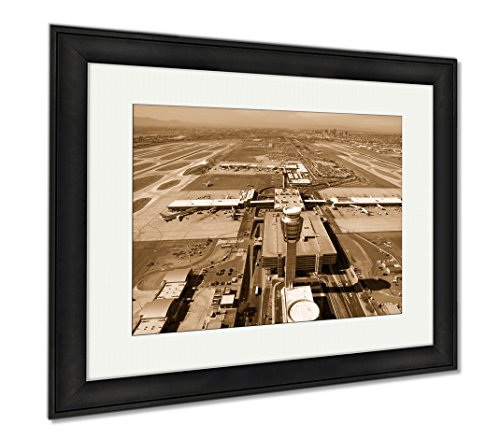 Ashley Framed Prints Sky Harbor Airport And Control Tower, Modern Room Accent Piece, Sepia, 34x40 (frame size), Black Frame, - Airport Shops Harbor Sky