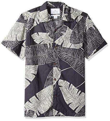 (28 Palms Men's Standard-Fit 100% Cotton Tropical Hawaiian Shirt, Navy Large Palm Leaves, Medium)