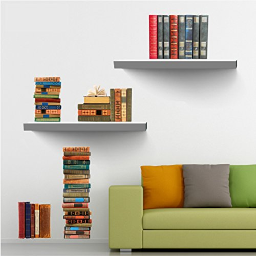 MagiDeal 3D Bookshelf Wall Decal Stickers Kids Room Decor - Quote Wall Shelf