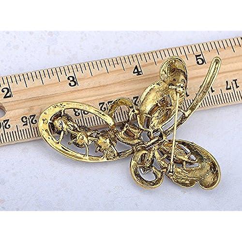 155776e52 Alilang Womens Golden Tone Multicolored Rhinestones Rainbow Butterfly Loop  Brooch Pin