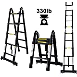 charaHOME Aluminum Telescoping Ladder 10.5ft Multipurpose A-Frame Folding Telescopic Extension Ladder Lightweight Portable Telescope Ladder Folding with Support Bar Non-Slip 330 lb Load Capacity