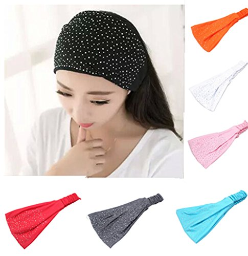 Yeshan Stretchy Athletic rhinestone Headbands