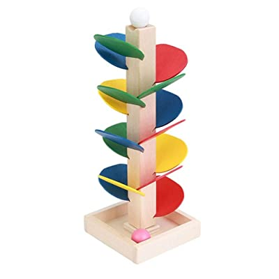 Toporchid Montessori Baby Blocks Toy Wooden Tree Marble Ball Run Track Game Kids Children Educational Intelligence Model Building: Beauty