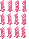Oasis Supply 1st Birthday Polka Dot Girl Candles, 3.25-Inch / 12 count